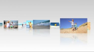 Montage collection 3D flat screen panel images young Caucasian family leisure time beach