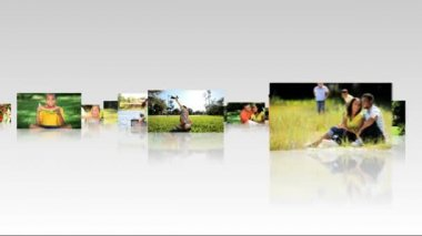Montage 3D Panels Family Outdoor Lifestyle — Stock Video #18019861