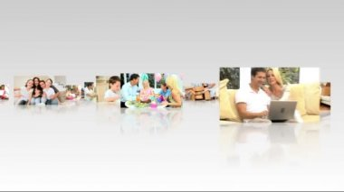 3D image montage happy Caucasian family enjoying home lifestyle together