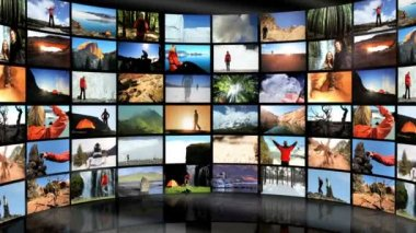 Montage Digital Wall Outdoor Lifestyle Travel Locations — Stock Video