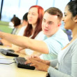 Diverse young classmates networking in hub — Video Stock