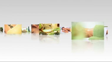 Multiple modern 3D screens showing montage images of various spa treatments
