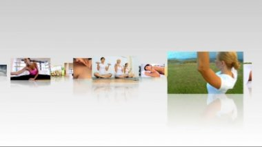 Montage 3D Images Yoga Fitness Practices — Stock Video