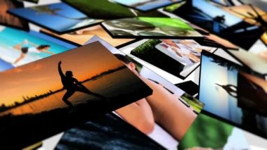Montage 3D Images Yoga and Massage Fitness — Stockvideo