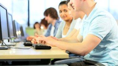 Portrait of Caucasian male student using IT communication — Stock Video
