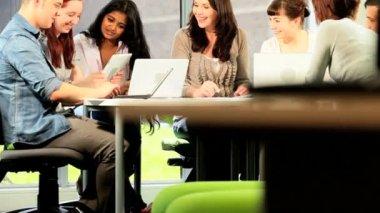 Tutor tests communication skills class of students — Stock Video
