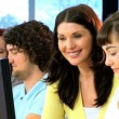 Vídeo de stock: Teacher and students e-learning education system