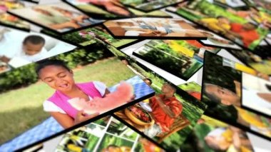 3D Montage images young multi ethnic family groups — Stock Video