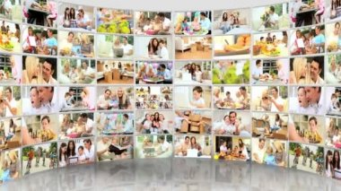3D montage outdoor images of young Caucasian families enjoying recreation time home