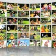Montage 3D images of ethnic and Caucasian family - Stock Photo