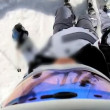 Stock Video: Skier on piste skiing