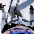 Competent skier maneuvering — Stock Video