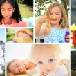 Montage Children Playing Outdoors — Stock Video