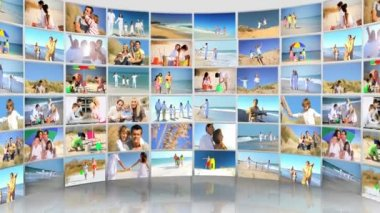 Montage 3D images of Caucasian family — Stock Video