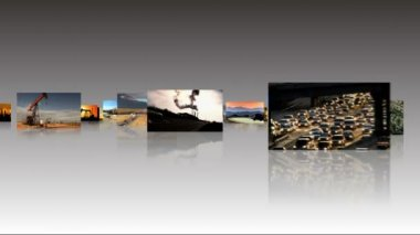 Montage 3D images of fossil fuel produced energy — Stock Video