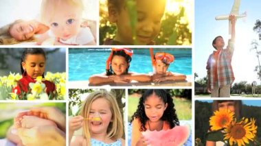 Montage Multi Ethnic Childhood — Stock Video