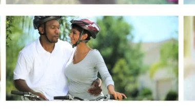 Montage Couples Healthy Outdoor Activities — Stock Video