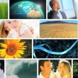 Montage of lifestyles developed and produced around the Globe - Stock Photo