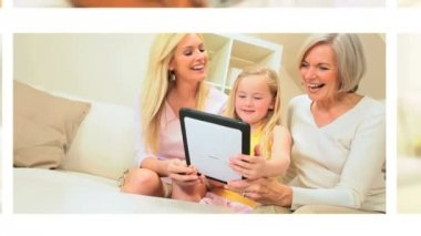Montage Grandparents Using Wireless Technology Grandchildren — Stock Video