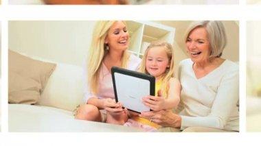 Montage Grandparents Using Wireless Technology Grandchildren — Stock Video