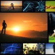 Montage of lifestyle achievements and ecosystems - Stock Photo