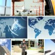 Montage Global Business Travel Communication — Stock Video