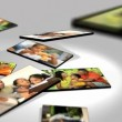Montage 3D tablet images young multi ethnic family — Stock Video