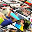 Montage 3D tablet images female Caucasian, Asian and African Americans shopping — ストックビデオ