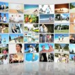 Video Stock: Montage 3D fitness video wall of families Caucasian, Asiand AfricAmericans exercising