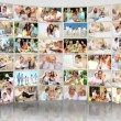 Montage 3D video wall  images featuring generations of Caucasian families - Foto de Stock
