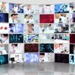 Montage 3D video wall inside  technical laboratory - Stock Photo
