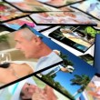 Montage 3D tablet images senior couple enjoying lifestyle moments - Stock Photo