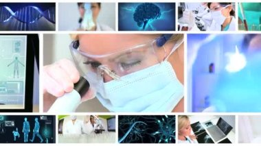 Montage Images 3D Virtual Medical Research — Stock Video