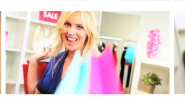 Montage of Beautiful Females with Designer Shopping — Stock Video