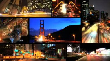 Montage illuminated time lapse view of nighttime traffic San Francisco