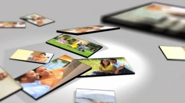 Montage 3D Tablet Images Ethnic Couples Lifestyle — Stock Video