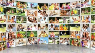 Montage 3D video wall images young multi ethnic family — Stock Video