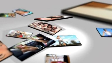Montage 3D tablet images young Americans pursuing different lifestyles — Stock Video