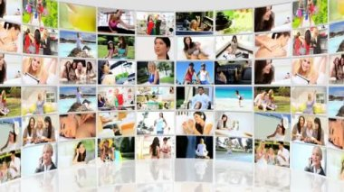 Montage 3D lifestyle video wall images female Caucasian, Asian and African Americans — Stock Video