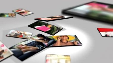 Montage 3D lifestyle female tablet images Caucasian, Asian and African Americans — Stock Video