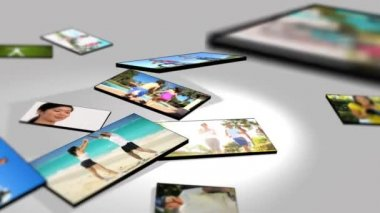Montage 3D tablet fitness images of families exercising — Stock Video