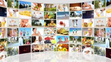 Montage 3D video wall of fitness images and healthy eating — Stock Video