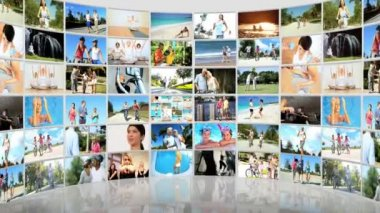 Montage 3D fitness video wall of families Caucasian, Asian and African Americans exercising — Stock Video