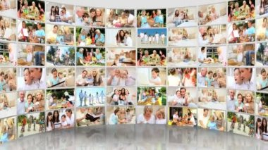 Montage 3D video wall images featuring generations of Caucasian families — Stock Video