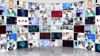 Montage 3D video wall images of technical laboratory skills used within a hospital