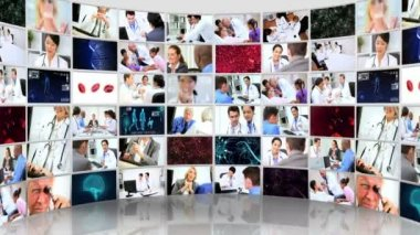 Montage 3D video wall images of medical consultants and patients — Stock Video