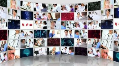 Imagens de vídeo wall 3d montagem de consultores médicos e pacientes — Vídeo stock