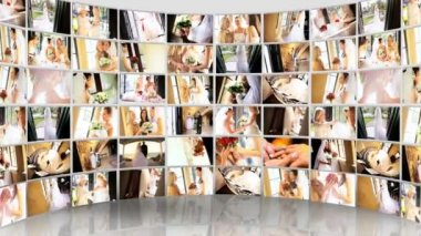 Montage 3D tablet wedding images of American brides — Stock Video