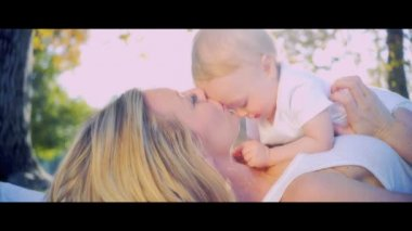 Caucasian Mother and Baby Laughing Together — Stock Video