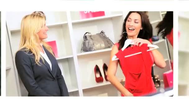 Montage Images Girls Enjoying Shopping — Vidéo